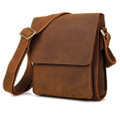 """Belo"" Men's Full Grain Leather Compact Box Messenger Bag"