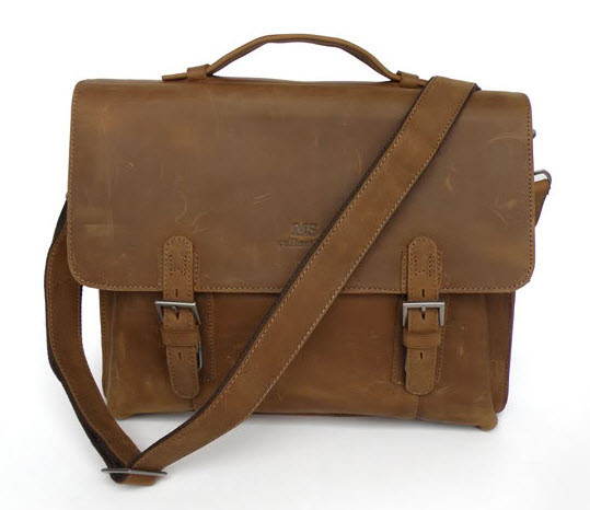 ... Men s Full Grain Distressed Leather Messenger Bag   Briefcase. Image 1. Loading  zoom 0f1a2c81f5f20
