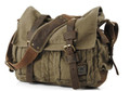 "Men's Medium ""Colonial"" Italian Style Messenger Bag with Leather Straps - Army Green"