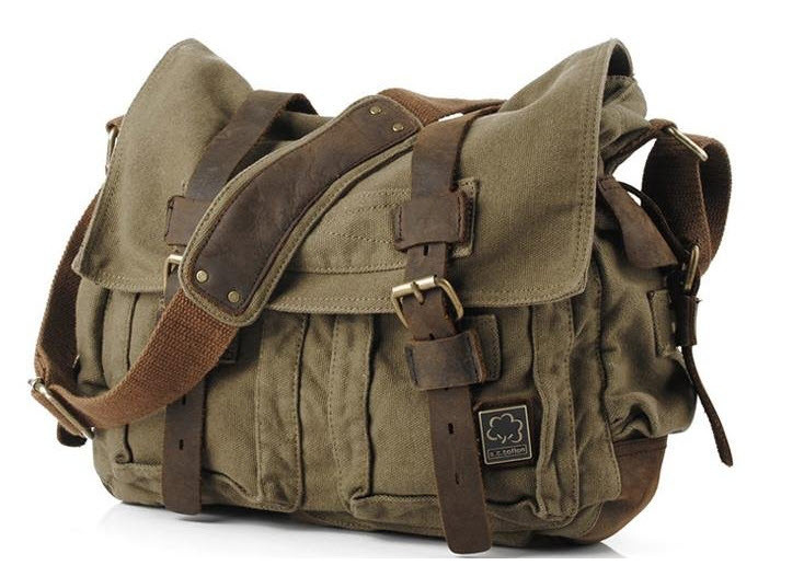 Military Cross Body Bag with LEATHER STRAPS