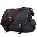 "Men's ""Weekday"" Heavy Canvas Classic Messenger Bag - Dark Grey"