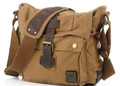 "Men's Italian Style Vertical ""Colonial""  Crossbody Messenger Bag - Khaki Tan"