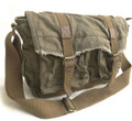 "Virginland ""Wanderer"" Distressed Heavy Canvas Messenger Bag - Army Green"