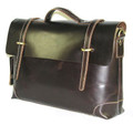 """Moscow"" Men's Top Grain Leather Laptop Briefcase Shoulder Bag - Red Oxblood"