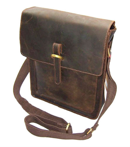 f1efe948b153 ... Men s Distressed Full Grain Leather Box-style Messenger Bag. Image 1.  Loading zoom