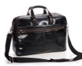"""Ankara"" Men's Smooth Top Grain Leather Trendy Briefcase - Glossy Black"