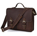 """Kharkov"" Men's Top Grain Leather Laptop Portfolio Briefcase - Brown"