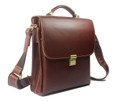 """Sendai"" Men's Vintage Leather Vertical Messenger Day Bag - Red Brown"