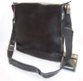 """LA"" Men's Full Grain Leather Vertical Messenger Bag - Black"