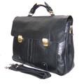 """Houston"" Men's Textured Leather Laptop Briefcase Attache"