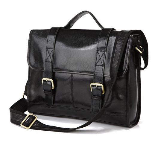 Pensacola Polished Vintage Leather Men's Compact Messenger Bag