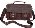 """Rochester"" Men's Vintage Leather Compact Messenger Bag - Brown"