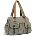 "Virginland ""Weekender 2"" Large Vintage Canvas Duffel Bag - Army Green"