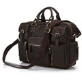 """Calgary"" Men's Full Grain Distressed Cowboy Leather Briefcase"