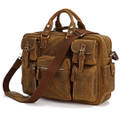 """Calgary 2"" Men's Full Grain Distressed Cowboy Leather Briefcase"