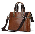 """Burlington"" Men's Smooth Vintage Leather Tote Messenger Bag & Tote"