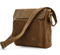 """Porto"" Men's Rugged Top Grain Leather Compact Gear Bag"