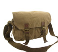 Virginland Rugged Canvas Strapped Messenger Bag - Khaki Tan