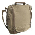 Virginland Vintage Canvas Vertical Messenger Bag - Khaki Tan
