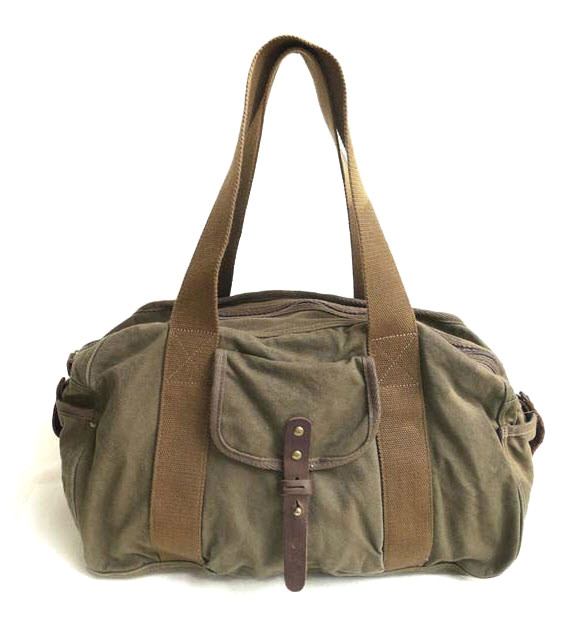 db8ff280651f ... Large Distressed Canvas Duffel Bag - Army Green. Image 1. Loading zoom