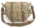 "Virginland ""Scooter"" Vintage Canvas Messenger Bag with Leather Straps - Khaki Tan"