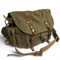 "Virginland ""Scooter"" Vintage Canvas Messenger Bag with Leather Straps - Army Green"