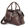"""Baltimore"" Soft Vintage Leather Overnight Duffel Bag - Brown"