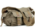 Virginland Men's Vintage Canvas Military Messenger Bag - Khaki Tan