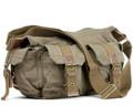 Virginland Men's Vintage Canvas Military Messenger Bag - Khaki Tan