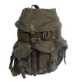 Virginland Vintage Canvas, Leather & Steal Rugged Day Backpack - Army Green