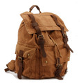 "Men's Trendy ""Colonial"" Italian Style Canvas Backpack with Leather Straps - Khaki Tan"