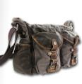 "Linshi Tasks ""Tamarack"" Men's Trendy Cotton Satchel with Leather Straps - Grey Green"