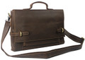 """Helsinki"" Men's Full Grain Cowboy Leather Messenger Bag for Laptops - Dark Brown"