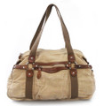 Linshi Tasks Men's Trendy Tote Duffel with Leather Accents - Khaki Tan