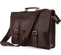 """""""St. Louis 2"""" Men's Top Grain Vintage Leather Laptop Briefcase - Tan Brown"""