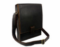 """Crown Point"" Men's Full Grain Leather Vertical Messenger Bag  - Dark Brown"