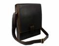 """Crown Point"" Men's Full Grain Leather Vertical Messenger Bag  - Dark Brown"