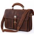 """Galveston"" Men's Full Grain Distressed Leather Laptop & Lockable Travel Bag - Medium Brown"