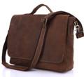 """Brandy Wine 2"" Men's Full Grain Leather Laptop Briefcase - Natural Brown"