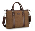 "Muzee ""Cross Street"" Men's Large Canvas Portfolio Tote Bag - Coffee Brown"