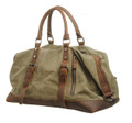 "Virginland ""San Simeon"" Vintage Canvas Duffel Bag with Leather Straps - Army Green"