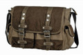 "Linshi Tasks ""Perkins"" Men's Canvas Messenger Bag with Leather Straps - Brown & Tan"