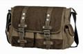 """Linshi Tasks """"Perkins"""" Men's Canvas Messenger Bag with Leather Straps - Brown & Tan"""