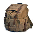 "Men's Trendy ""Colonial"" Italian Style Canvas Backpack with Leather Straps - Military Green"