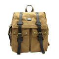 "Amik ""Bunker Hill"" Italian-Style Vintage Canvas & Leather Backpack - Khaki Tan"