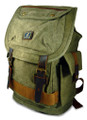"Amik ""Cahuenga Pass"" Italian-Style Vintage Canvas & Leather Backpack - Military Green"