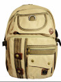 "Amik ""Brentwood"" Designer Vintage Canvas School Backpack - Khaki Tan"