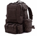 Men's Large Military Style Modular Tactical Backpack & Daypack - Black