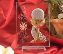 First Communion Chalice Silver and Gold on Glass with Swarovski Crystal