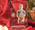 Large Italian Silver First Communion Boy Icon On A Glass Stand With Swarovski Crystals